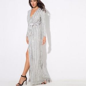 6f9763812adb Long maxi dress long sleeve silver sparkly evening